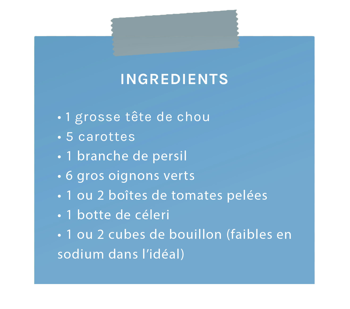 ingrédients soupe aux choux