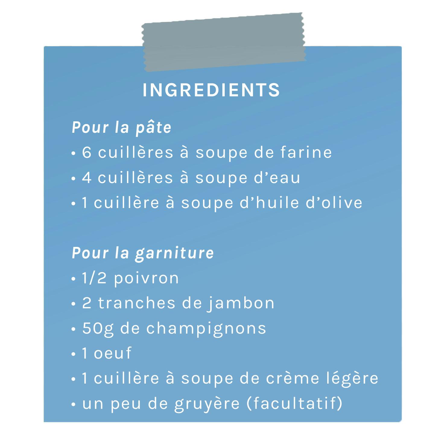ingrédients mini-quiches poivron jambon, champignons