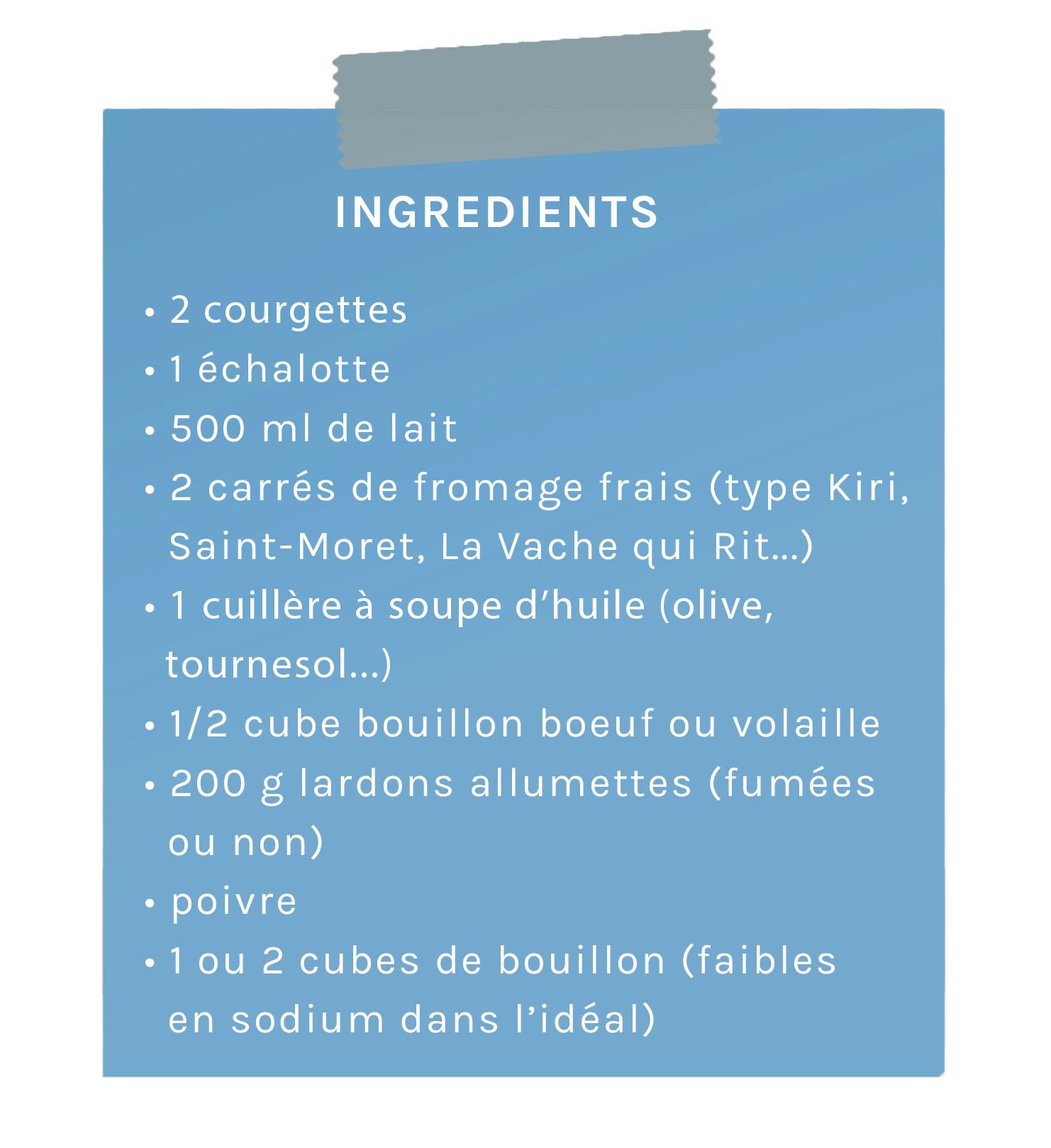 ingrédients velouté de courgettes au fromag