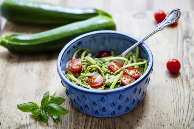 tagliatelle de courgettes et tomates cerises